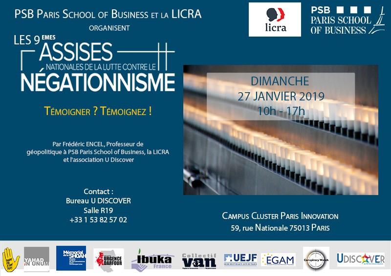 Les 9ème assises nationales de lutte contre le négationnisme, organisé par Frédéric Encel avec Paris School of Business et la Licra