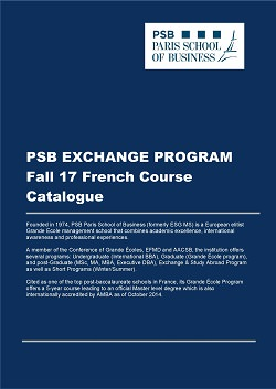 PSB Exchange & Study Abroad Program Fall 17 French Course Catalogue