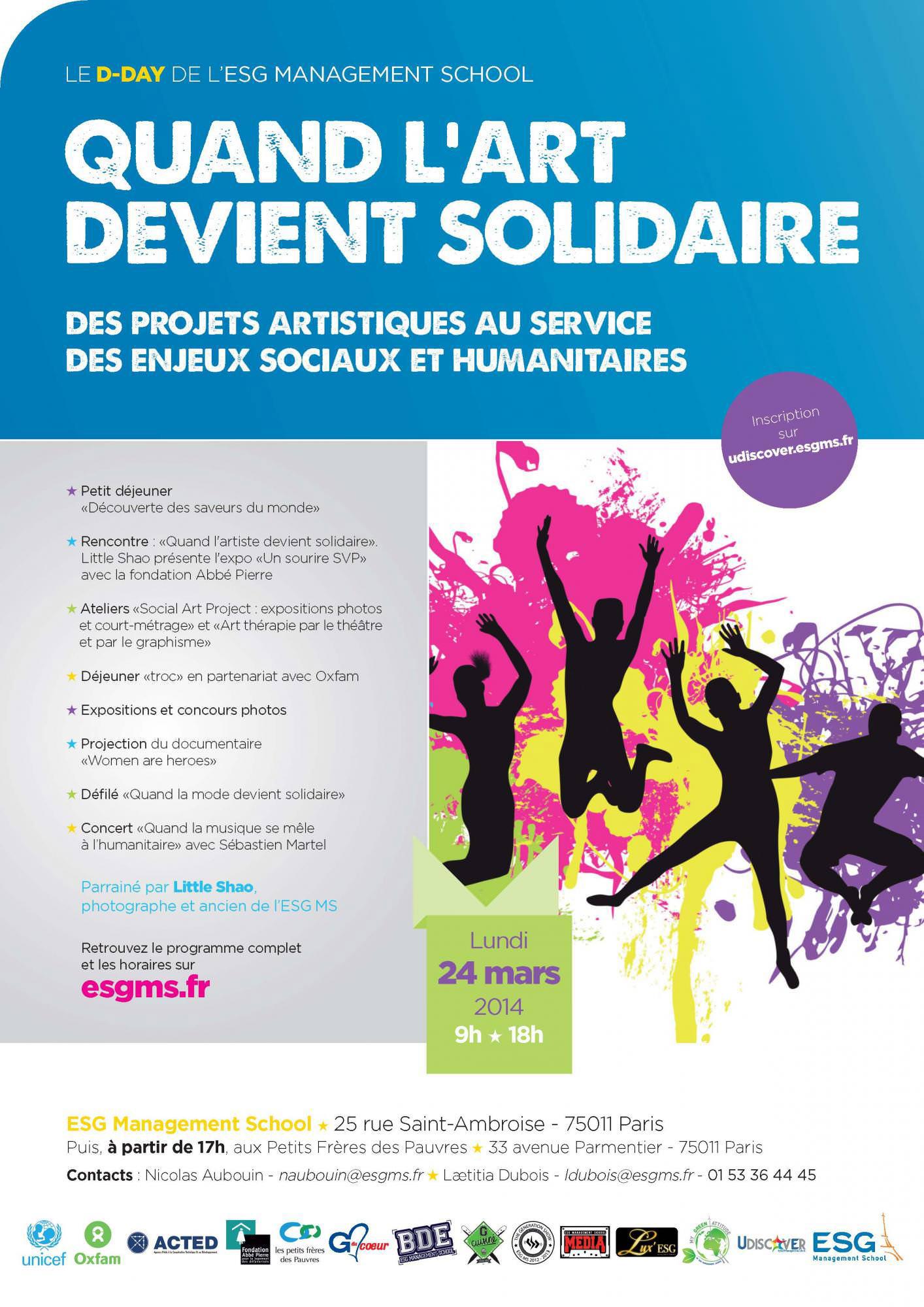 4ème édition du DDAY de l'ESG Management School « Quand l'art devient solidaire » le 24 mars 2014