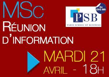 Réunion d'information MSc, 21 avril 2015, 18h-20h