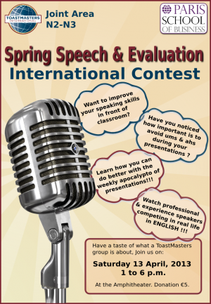 Paris School of Business will be hosting the Toastmasters Contest on Saturday 13th April