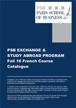 PSB Exchange & Study Abroad Program Fall 16 French Course Catalogue