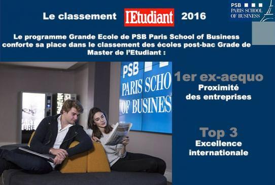 Top 3 classement Etudiant PSB Paris School of Business