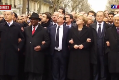 World leaders at the unity march in Paris Copyright TF1